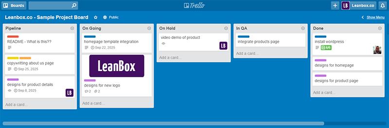 Leanbox.co - Trello Sample Project Board